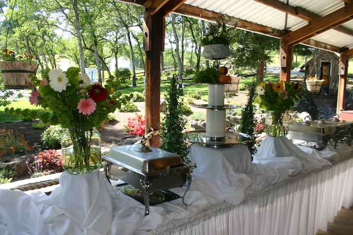 Wedding Buffet Table Setup It was set up in the patio