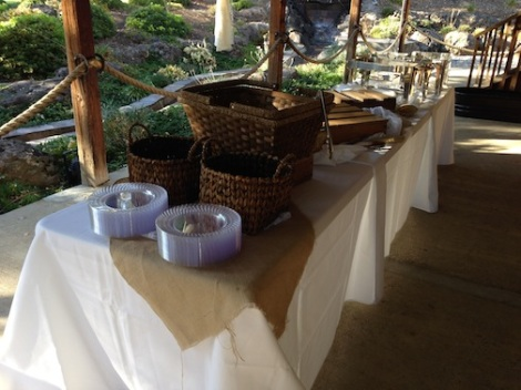 The buffet was set up on the rear patio.