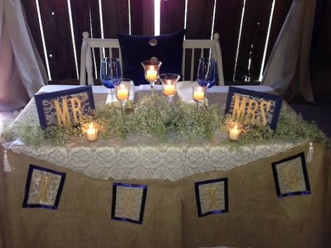 Kathryn and Aaron's sweetheart table.