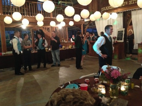 Kyle gets ready for the garter toss.