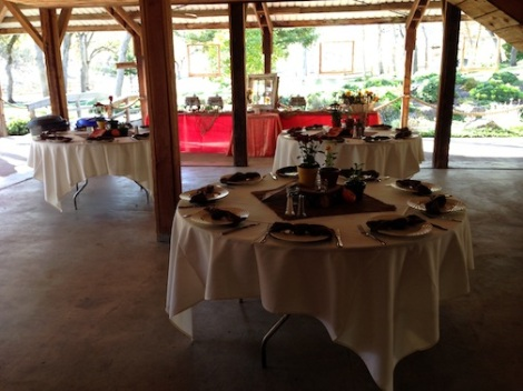 Guest tables spill into the patio to accommodate for the full house.