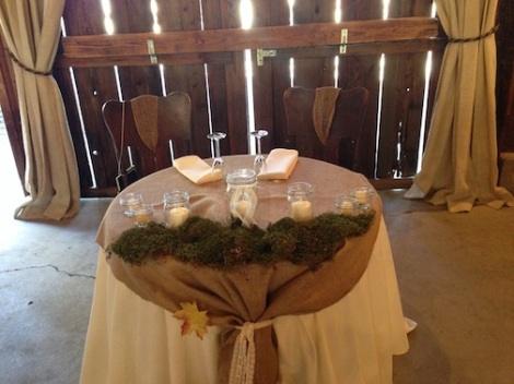 Kirstien and DJ's sweetheart table was set up at the front of the barn.