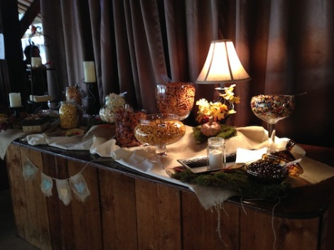 LOVE this shot of the snacks and candy on the kitchen counter.  It really glowed in the barn.  Just beautiful.