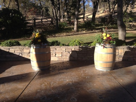A close up of the wine barrels on the altar.