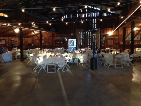 Set up for approx. 100 from the rear of the barn.  LOVE that glow!