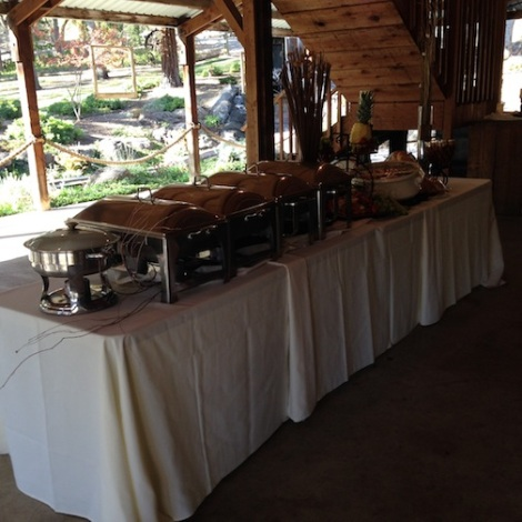 Etched in Elegance always does such a beautiful buffet.  This was set up in the covered patio area under the loft.
