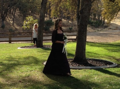 The march begins!  This has to be Amy's sister???  They look a lot alike.  LOVE the long formal brown gown.  So lovely.