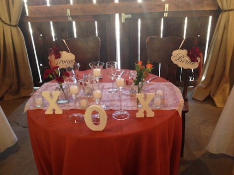 A close up of the sweetheart table.