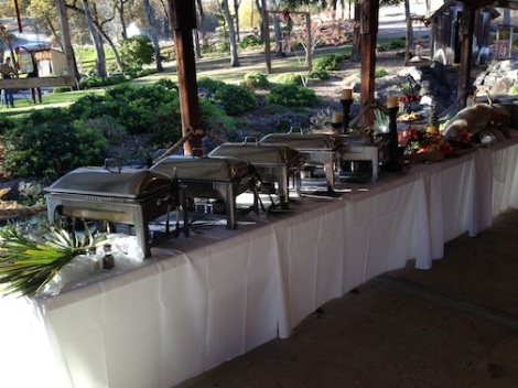 The buffet was set up in the patio.