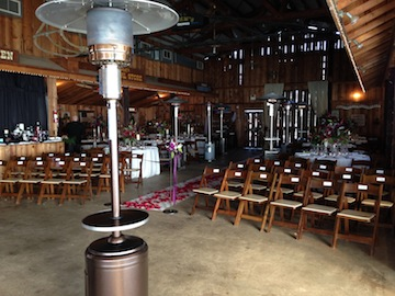 Set up for the indoor ceremony from the rear corner of the barn.