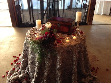 The altar table had a box that Mo and Cade will put their written vows into when the ceremony is complete.