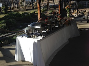 The elegant buffet table was set up on the rear patio.  Etched in Elegance always does such a amazing job with the buffet.
