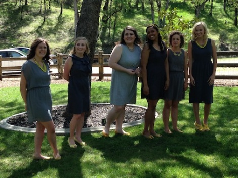 Emily's girls!  LOVE the shades of gray dresses.  Just lovely.