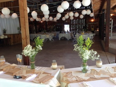 This shows the set up from the head table at rear of the barn.  It had an organic and very chic vibe.