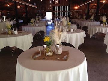 This shows set up from the sweetheart table set up at the rear of the barn.